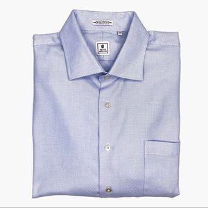 Peter Millar Birdseye Button Down Dress Shirt.